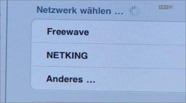 Screenshot vom Beitrag: Das iPad zeigt die vorhandenen WLAN-Netze, darunter Freewave.
