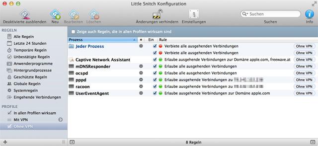 Screenshot von Little Snitch mit allen Regeln des Ohne-VPN-Profils