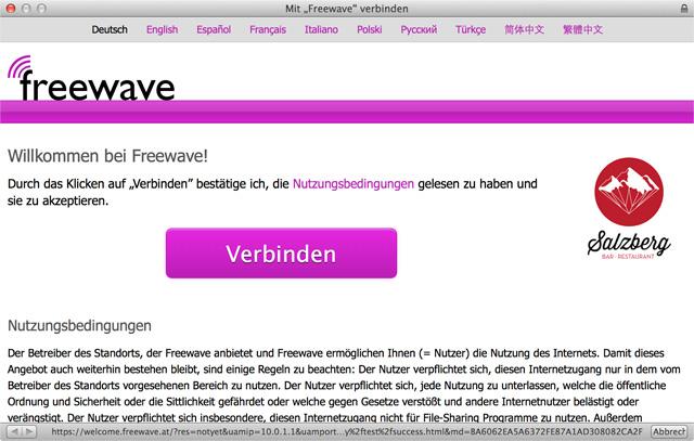 Zeigt die Freewave-Willkommensseite im Captive Network Assistant mit der Möglichkeit sich ins Internet zu verbinden
