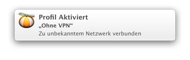 Eine OS X-Notification, die die automatische Verbindung zum Profil Ohne-VPN bestätigt
