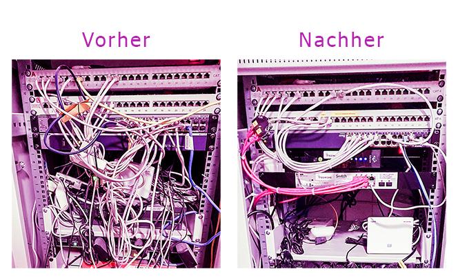 Freewave-Installation: Serverkasten Vorher und Nachher